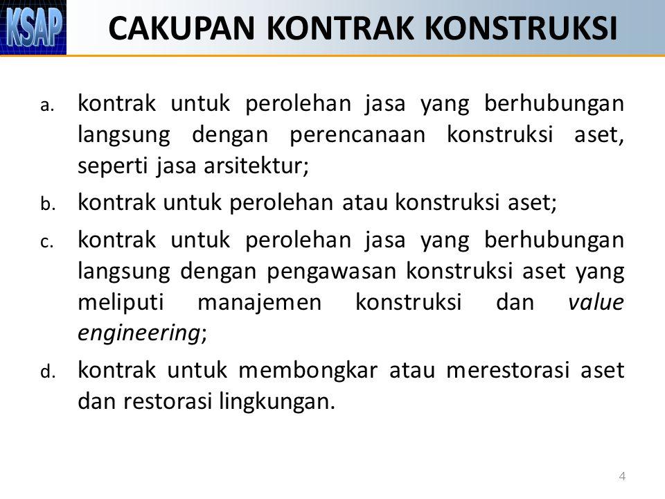 CAKUPAN KONTRAK KONSTRUKSI 4 a. kontrak untuk perolehan jasa yang berhubungan langsung dengan perencanaan konstruksi aset, seperti jasa arsitektur; b.