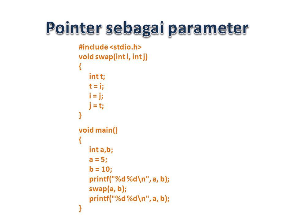 #include void swap(int i, int j) { int t; t = i; i = j; j = t; } void main() { int a,b; a = 5; b = 10; printf(