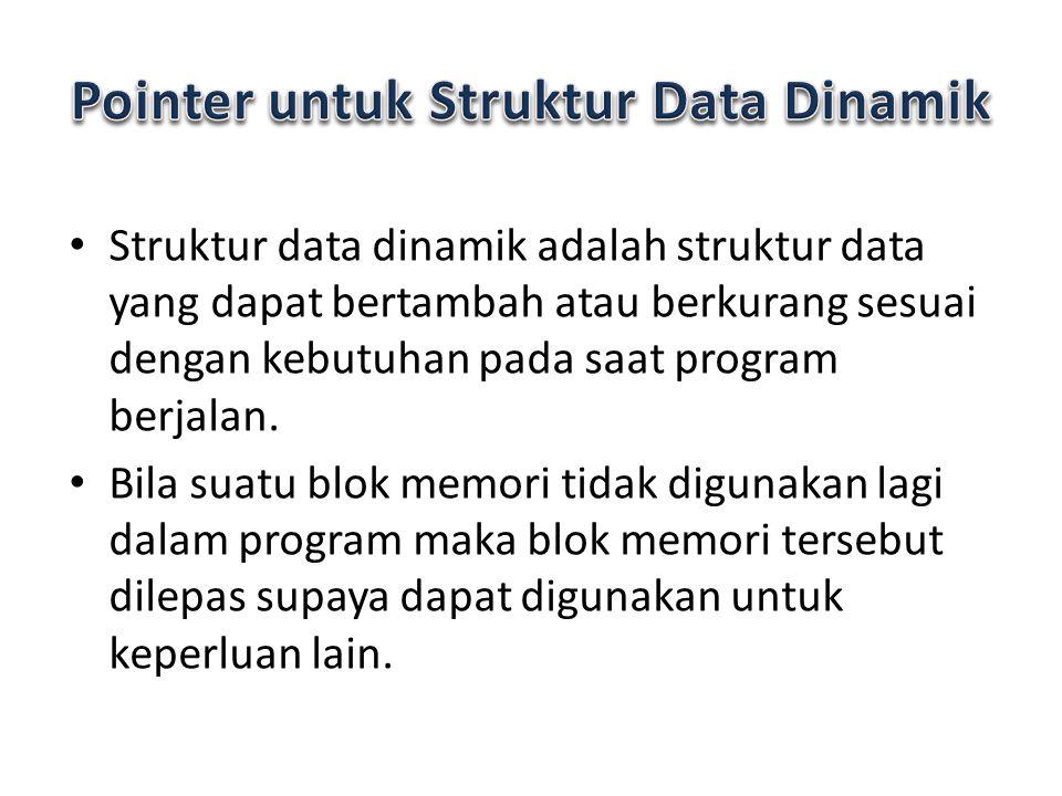 Struktur data dinamik adalah struktur data yang dapat bertambah atau berkurang sesuai dengan kebutuhan pada saat program berjalan. Bila suatu blok mem