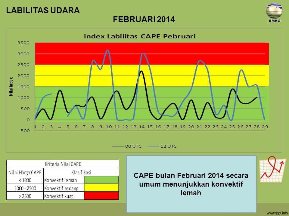 LABILITAS UDARA FEBRUARI 2014 CAPE bulan Februari 2014 secara umum menunjukkan konvektif lemah
