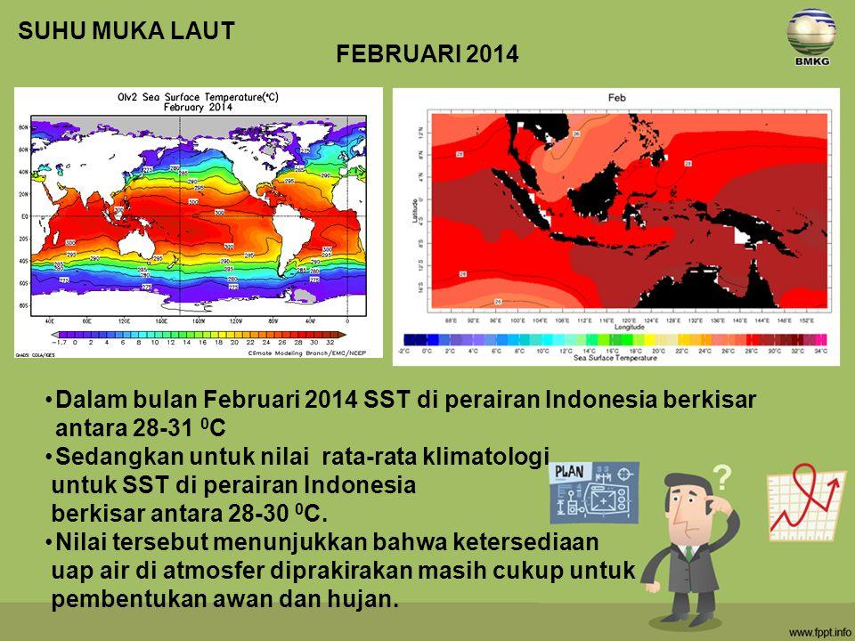 Dalam bulan Februari 2014 SST di perairan Indonesia berkisar antara 28-31 0 C Sedangkan untuk nilai rata-rata klimatologi untuk SST di perairan Indonesia berkisar antara 28-30 0 C.