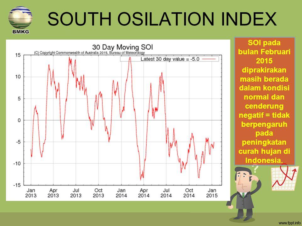 SOUTH OSILATION INDEX SOI pada bulan Februari 2015 diprakirakan masih berada dalam kondisi normal dan cenderung negatif = tidak berpengaruh pada peningkatan curah hujan di Indonesia.