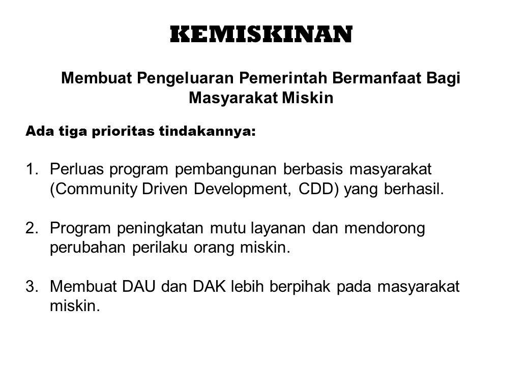 KEMISKINAN Membuat Pengeluaran Pemerintah Bermanfaat Bagi Masyarakat Miskin Ada tiga prioritas tindakannya: 1.Perluas program pembangunan berbasis mas