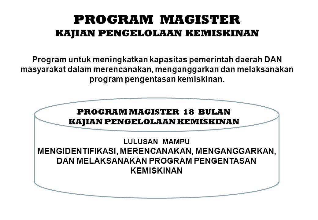 PROGRAM MAGISTER KAJIAN PENGELOLAAN KEMISKINAN Program untuk meningkatkan kapasitas pemerintah daerah DAN masyarakat dalam merencanakan, menganggarkan dan melaksanakan program pengentasan kemiskinan.