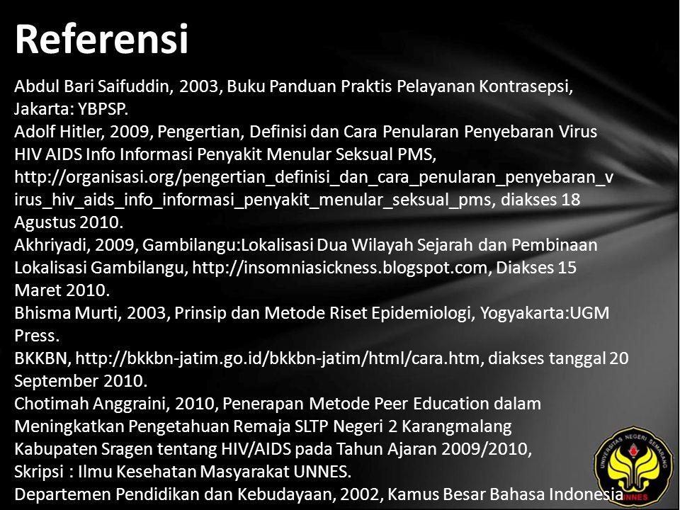 Referensi Abdul Bari Saifuddin, 2003, Buku Panduan Praktis Pelayanan Kontrasepsi, Jakarta: YBPSP. Adolf Hitler, 2009, Pengertian, Definisi dan Cara Pe