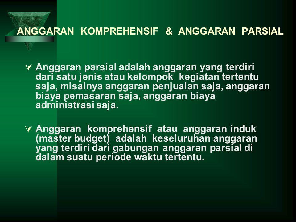 ANGGARAN KOMPREHENSIF & ANGGARAN PARSIAL  Anggaran parsial adalah anggaran yang terdiri dari satu jenis atau kelompok kegiatan tertentu saja, misalny