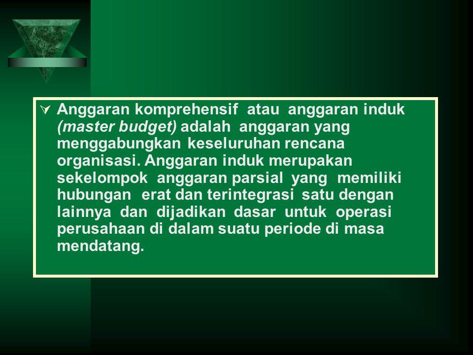  Anggaran komprehensif atau anggaran induk (master budget) adalah anggaran yang menggabungkan keseluruhan rencana organisasi. Anggaran induk merupaka