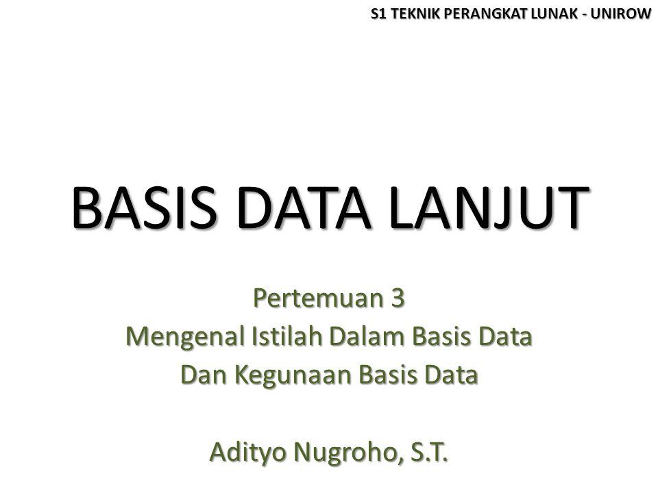 Pokok Bahasan Pertemuan 3 Istilah dalam basis data Istilah dalam basis data Entity, Attribute, Data value, Record, File, Database, DBMS Kegunaan basis data Kegunaan basis data [1]Redundansi dan inkonsistensi data [2]Kesulitan pengaksesan data [3]Isolasi data untuk standarisasi [4]Multiple user [5]Masalah keamanan (security) [6]Masalah integrasi (kesatuan) [7]Masalah data independence (kebebasan data) S1 TEKNIK PERANGKAT LUNAK - UNIROW
