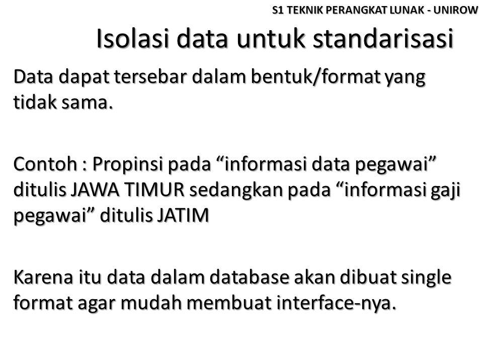 """Isolasi data untuk standarisasi Data dapat tersebar dalam bentuk/format yang tidak sama. Contoh : Propinsi pada """"informasi data pegawai"""" ditulis JAWA"""