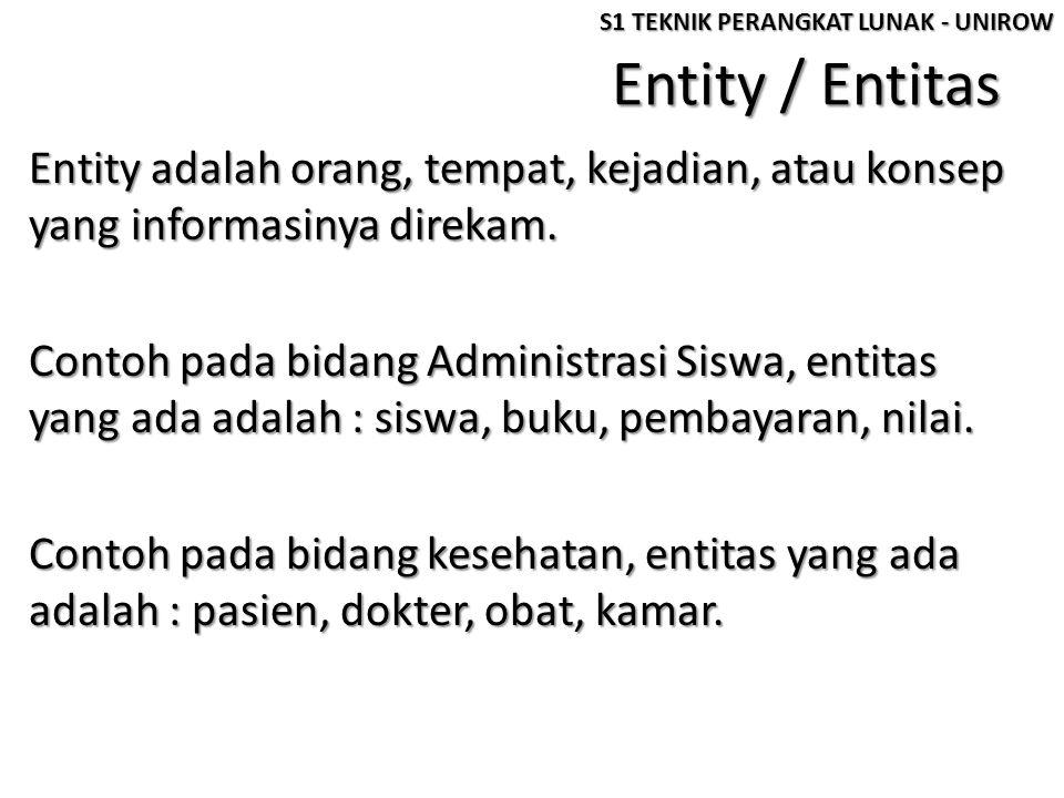 Entity / Entitas Entity adalah orang, tempat, kejadian, atau konsep yang informasinya direkam. Contoh pada bidang Administrasi Siswa, entitas yang ada