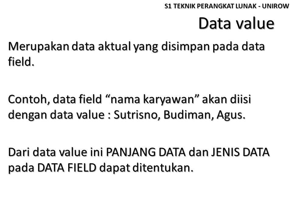 "Data value Merupakan data aktual yang disimpan pada data field. Contoh, data field ""nama karyawan"" akan diisi dengan data value : Sutrisno, Budiman, A"