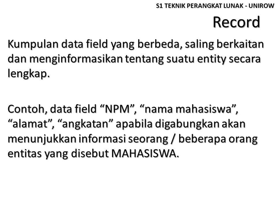 """Record Kumpulan data field yang berbeda, saling berkaitan dan menginformasikan tentang suatu entity secara lengkap. Contoh, data field """"NPM"""", """"nama ma"""