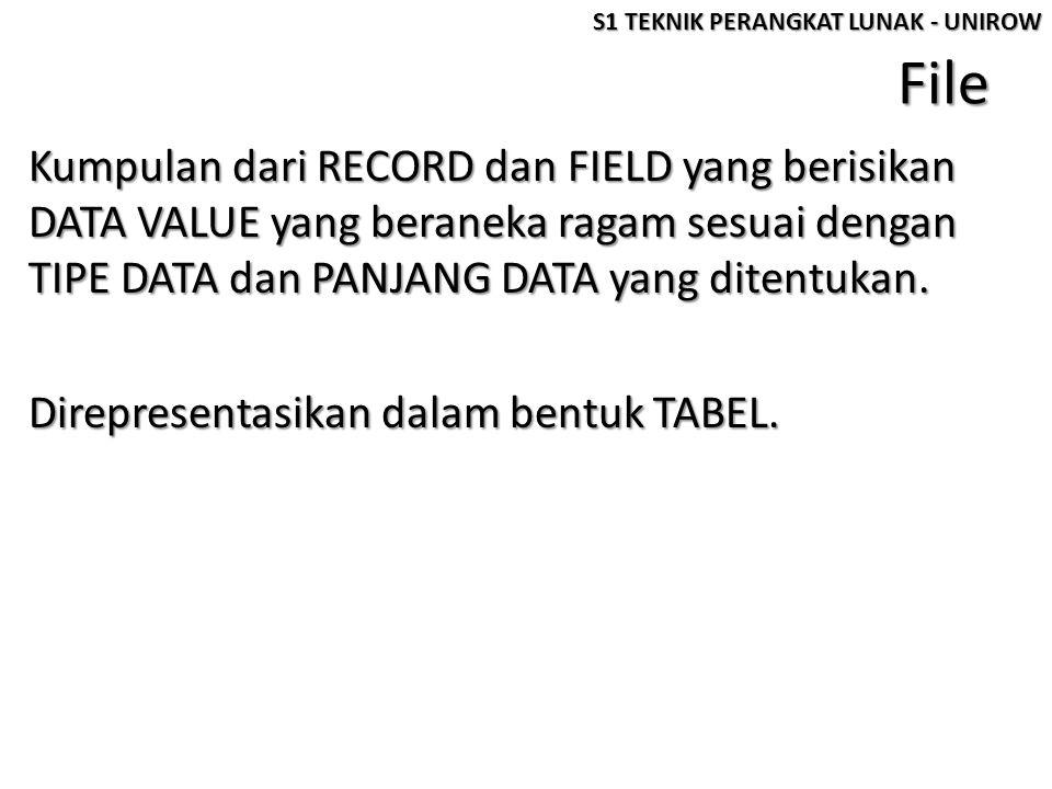 File Kumpulan dari RECORD dan FIELD yang berisikan DATA VALUE yang beraneka ragam sesuai dengan TIPE DATA dan PANJANG DATA yang ditentukan. Direpresen