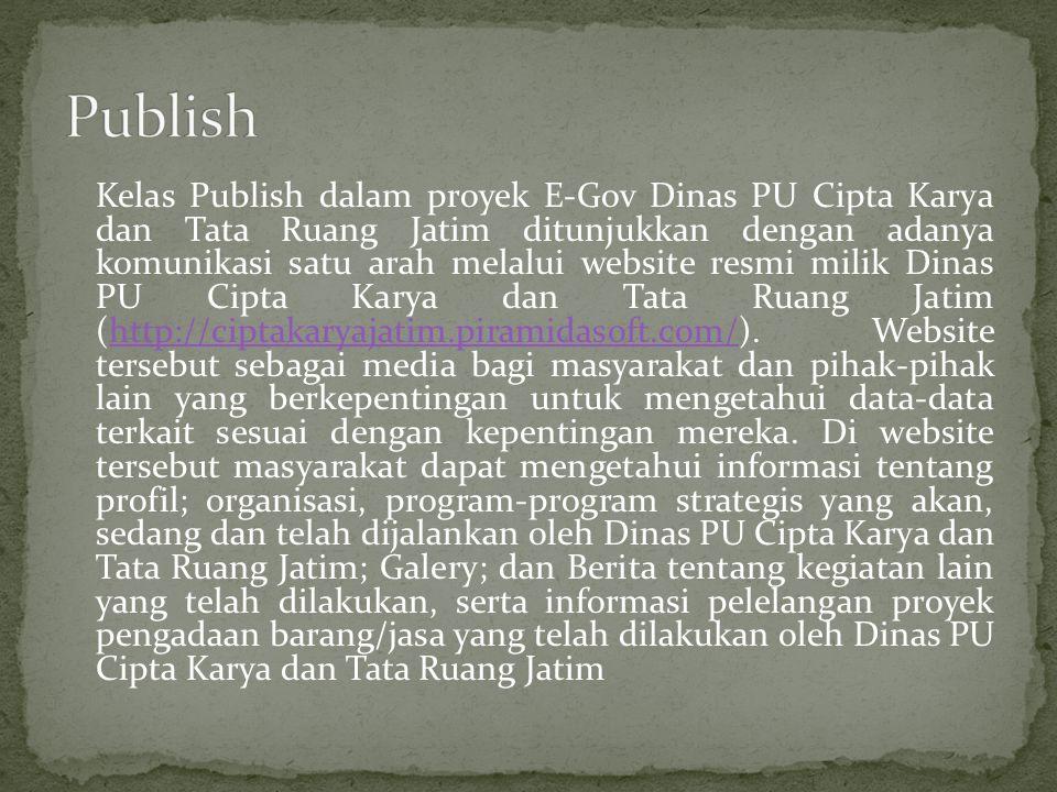 Kelas Publish dalam proyek E-Gov Dinas PU Cipta Karya dan Tata Ruang Jatim ditunjukkan dengan adanya komunikasi satu arah melalui website resmi milik