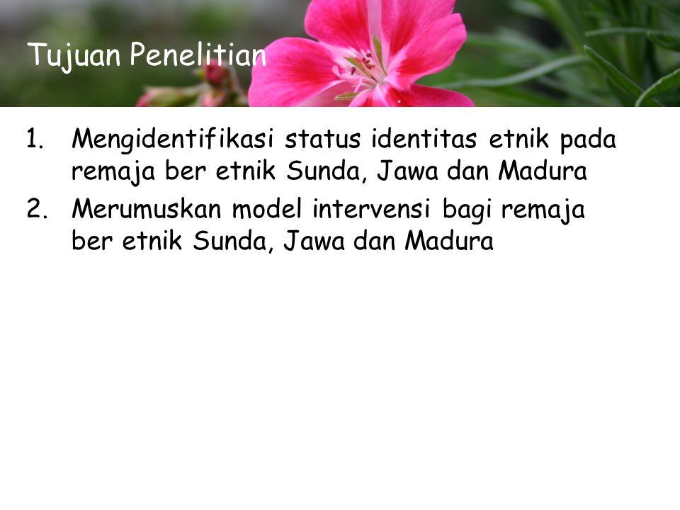 Tujuan Penelitian 1.Mengidentifikasi status identitas etnik pada remaja ber etnik Sunda, Jawa dan Madura 2.Merumuskan model intervensi bagi remaja ber