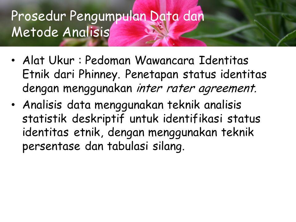 Prosedur Pengumpulan Data dan Metode Analisis Alat Ukur : Pedoman Wawancara Identitas Etnik dari Phinney. Penetapan status identitas dengan menggunaka