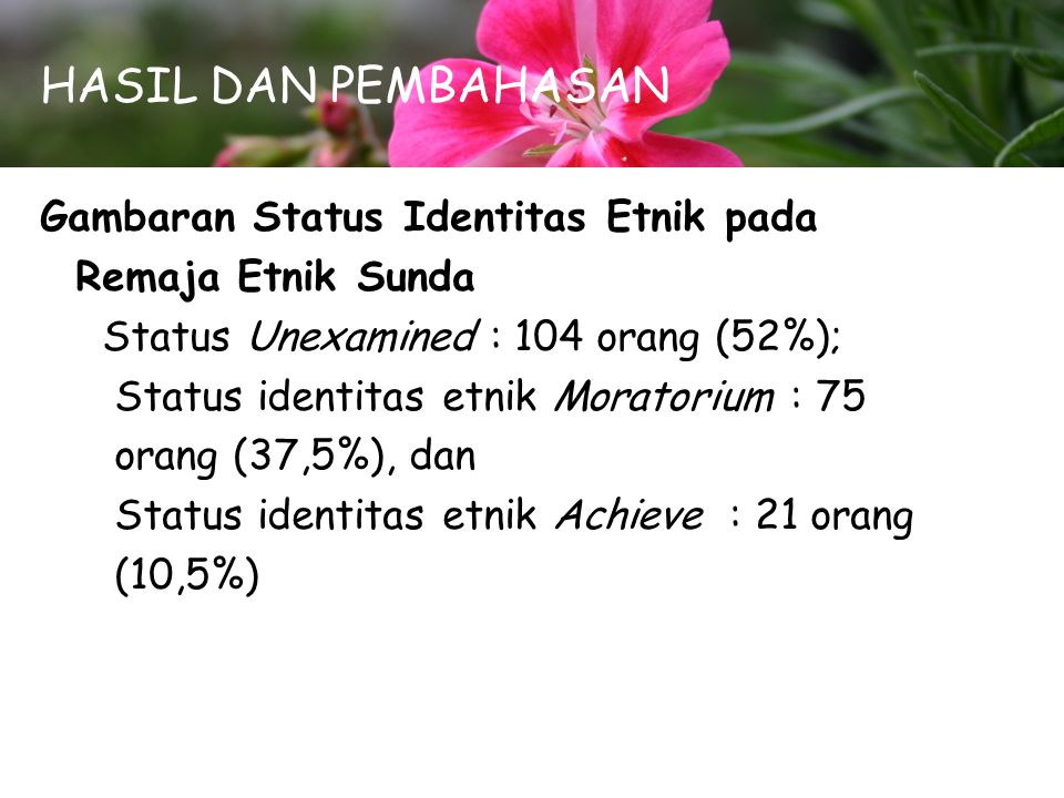 HASIL DAN PEMBAHASAN Gambaran Status Identitas Etnik pada Remaja Etnik Sunda Status Unexamined : 104 orang (52%); Status identitas etnik Moratorium :