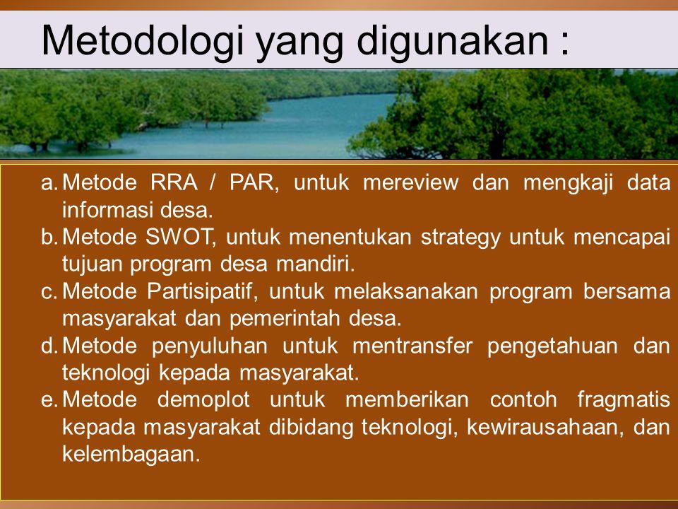 Metodologi yang digunakan : a.Metode RRA / PAR, untuk mereview dan mengkaji data informasi desa. b.Metode SWOT, untuk menentukan strategy untuk mencap