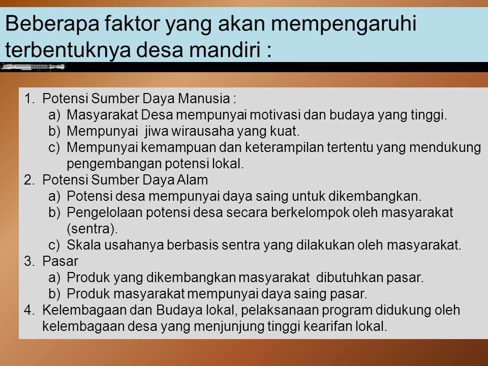Tulis Ciri-ciri Desa Mandiri menurut Bapak/Ibu sebanyak-banyaknya dalam bentuk forsa kata (contoh : Masyarakatnya pekerja keras)