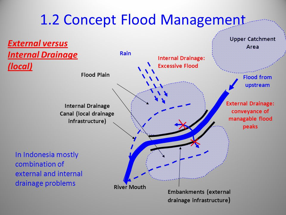 1.2 Concept Flood Management External versus Internal Drainage (local) Internal Drainage Canal (local drainage infrastructure) Flood Plain Rain Internal Drainage: Excessive Flood External Drainage: conveyance of managable flood peaks Flood from upstream Embankments (external drainage infrastructure ) In Indonesia mostly combination of external and internal drainage problems Upper Catchment Area River Mouth