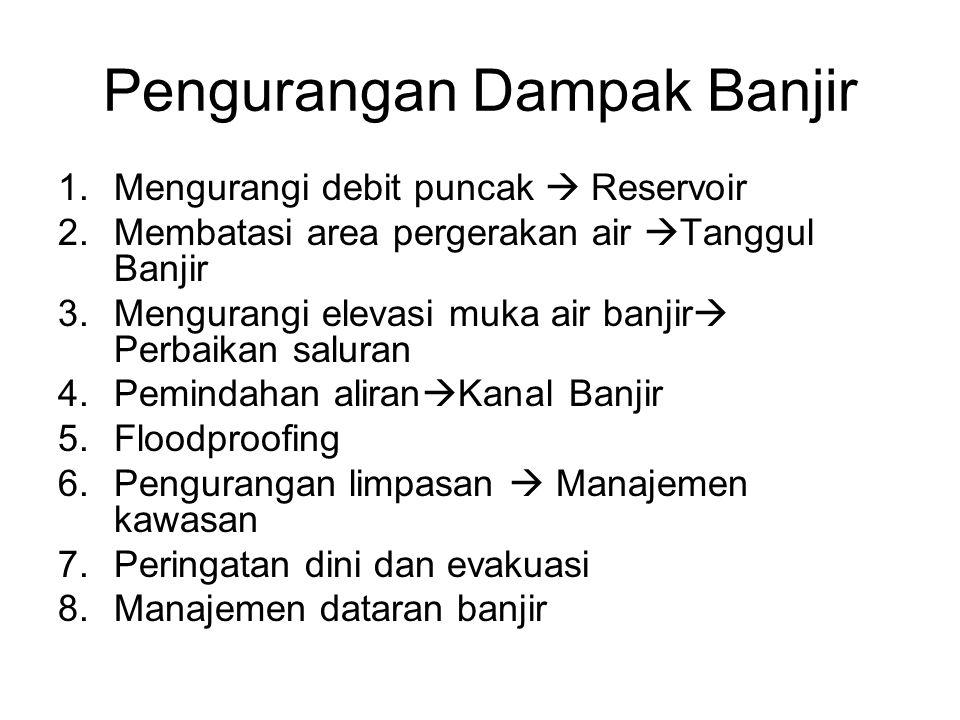 Pengurangan Dampak Banjir 1.Mengurangi debit puncak  Reservoir 2.Membatasi area pergerakan air  Tanggul Banjir 3.Mengurangi elevasi muka air banjir  Perbaikan saluran 4.Pemindahan aliran  Kanal Banjir 5.Floodproofing 6.Pengurangan limpasan  Manajemen kawasan 7.Peringatan dini dan evakuasi 8.Manajemen dataran banjir