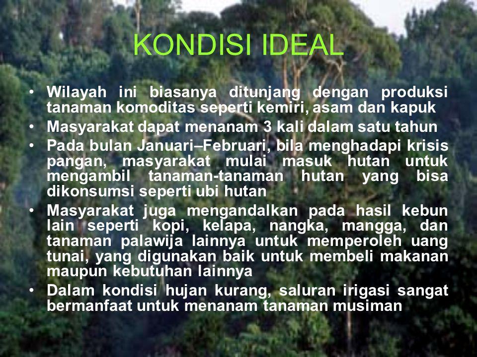 KONDISI IDEAL Wilayah ini biasanya ditunjang dengan produksi tanaman komoditas seperti kemiri, asam dan kapuk Masyarakat dapat menanam 3 kali dalam sa