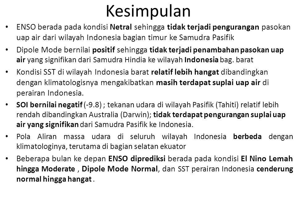 Kesimpulan ENSO berada pada kondisi Netral sehingga tidak terjadi pengurangan pasokan uap air dari wilayah Indonesia bagian timur ke Samudra Pasifik Dipole Mode bernilai positif sehingga tidak terjadi penambahan pasokan uap air yang signifikan dari Samudra Hindia ke wilayah Indonesia bag.