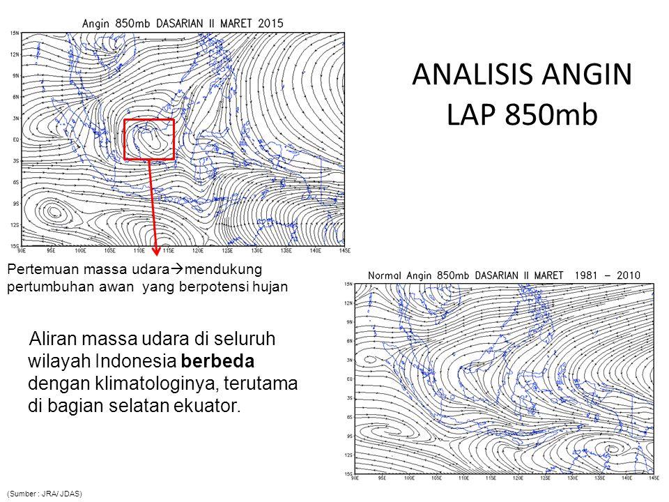 ANALISIS ANGIN LAP 850mb Aliran massa udara di seluruh wilayah Indonesia berbeda dengan klimatologinya, terutama di bagian selatan ekuator.