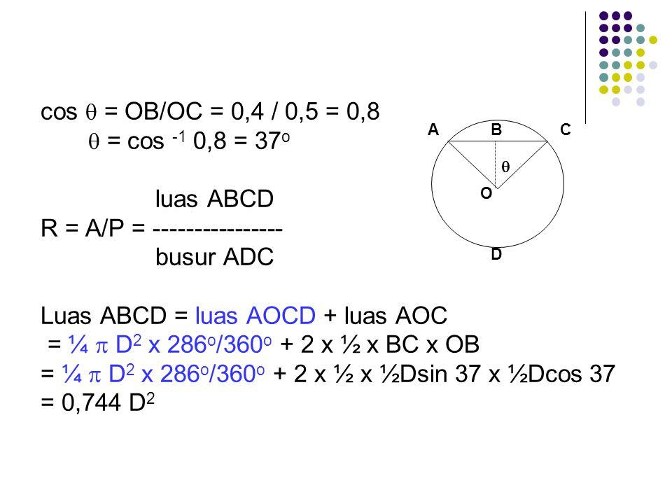 cos  = OB/OC = 0,4 / 0,5 = 0,8  = cos -1 0,8 = 37 o luas ABCD R = A/P = ---------------- busur ADC Luas ABCD = luas AOCD + luas AOC = ¼  D 2 x 286