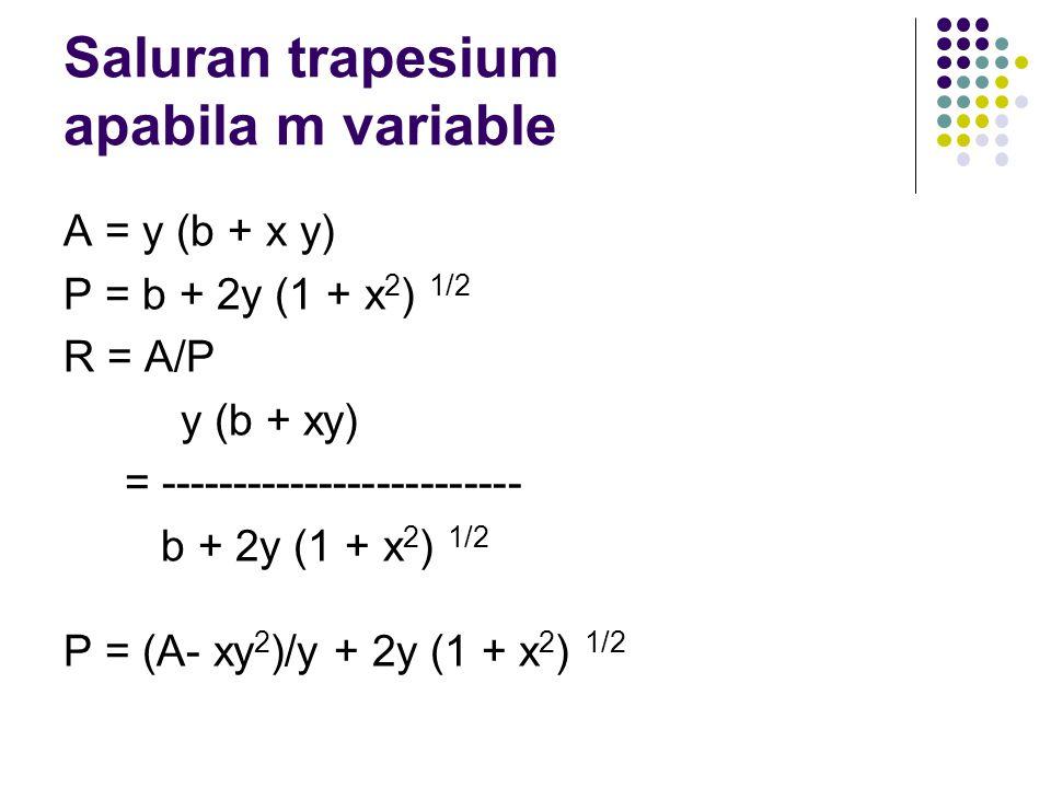 Saluran trapesium apabila m variable A = y (b + x y) P = b + 2y (1 + x 2 ) 1/2 R = A/P y (b + xy) = ------------------------- b + 2y (1 + x 2 ) 1/2 P