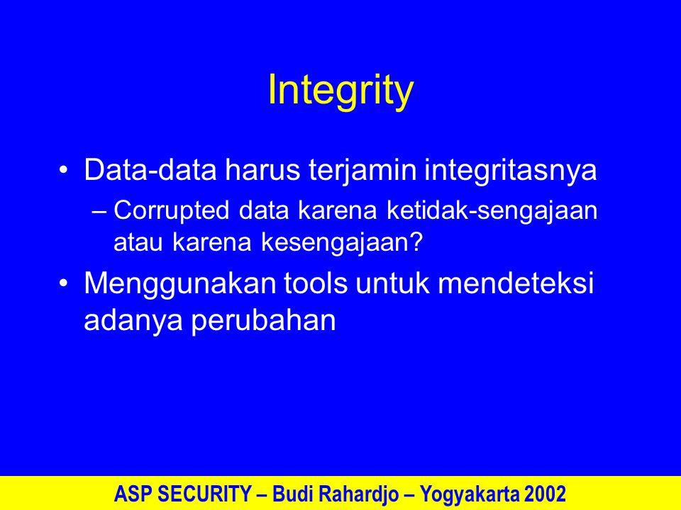 ASP SECURITY – Budi Rahardjo – Yogyakarta 2002 Availability Data dan sistem harus tersedia ketika dibutuhkan Sangat sulit mencapai 100% available Redundancy, backup, off-site systems –Bagaimana bila terjadi bencana (kebakaran, banjir, kerusuhan)?