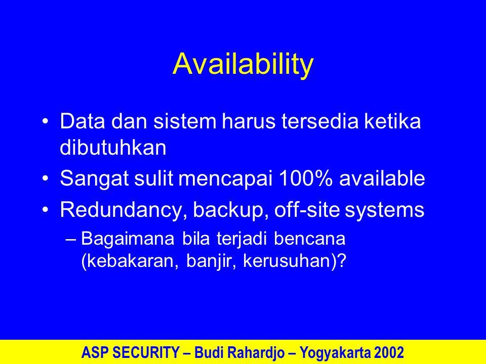 ASP SECURITY – Budi Rahardjo – Yogyakarta 2002 Availability Data dan sistem harus tersedia ketika dibutuhkan Sangat sulit mencapai 100% available Redundancy, backup, off-site systems –Bagaimana bila terjadi bencana (kebakaran, banjir, kerusuhan)