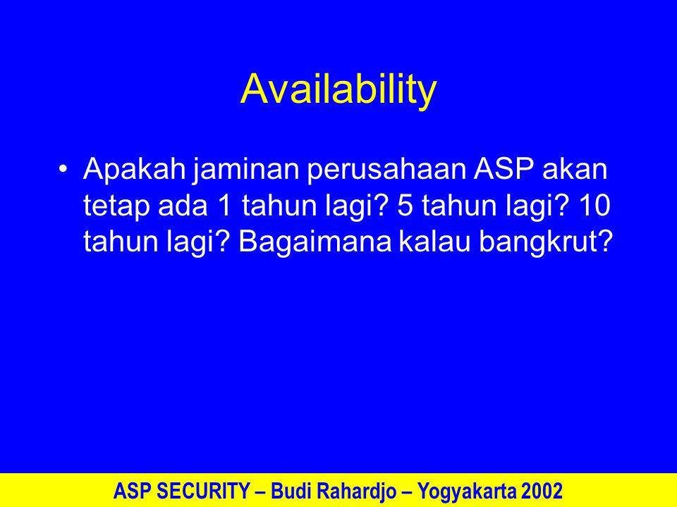 ASP SECURITY – Budi Rahardjo – Yogyakarta 2002 Penutup Bisnis ASP hanya akan dapat dijalankan jika faktor keamanan dapat diterima Faktor kepercayaan (trust) lebih diutamakan dalam bisnis Model ASP masih muda sehingga masih banyak yang belum diketahui dalam prakteknya