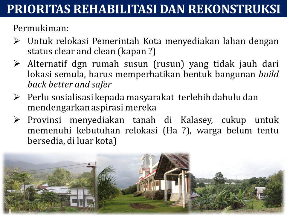 PRIORITAS REHABILITASI DAN REKONSTRUKSI Permukiman:  Untuk relokasi Pemerintah Kota menyediakan lahan dengan status clear and clean (kapan ?)  Alter