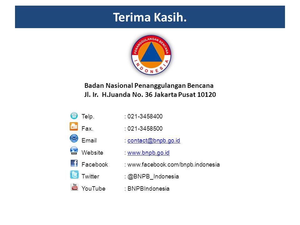 Terima Kasih. Badan Nasional Penanggulangan Bencana Jl. Ir. H.Juanda No. 36 Jakarta Pusat 10120 Telp. : 021-3458400 Fax. : 021-3458500 Email : contact