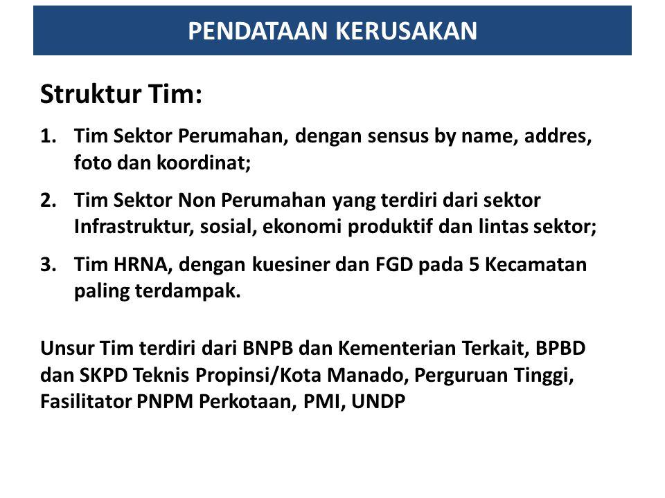 PENDATAAN KERUSAKAN Struktur Tim: 1.Tim Sektor Perumahan, dengan sensus by name, addres, foto dan koordinat; 2.Tim Sektor Non Perumahan yang terdiri d