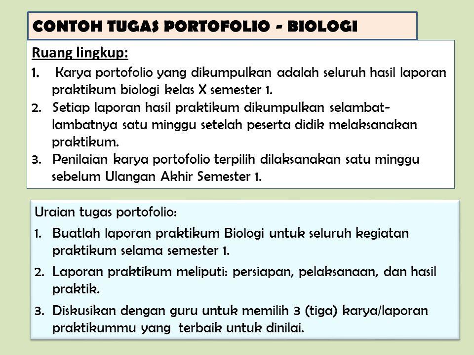 CONTOH TUGAS PORTOFOLIO - BIOLOGI Ruang lingkup: 1.