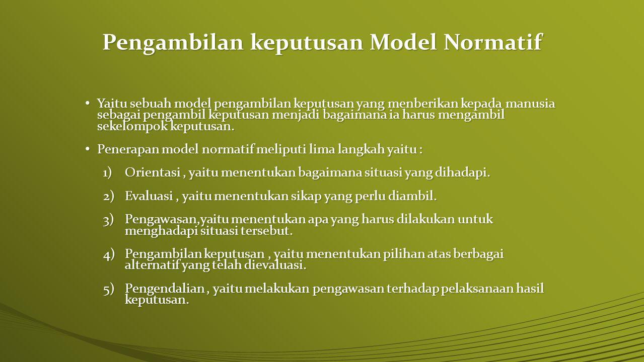 Pengambilan keputusan Model Normatif Yaitu sebuah model pengambilan keputusan yang menberikan kepada manusia sebagai pengambil keputusan menjadi bagai