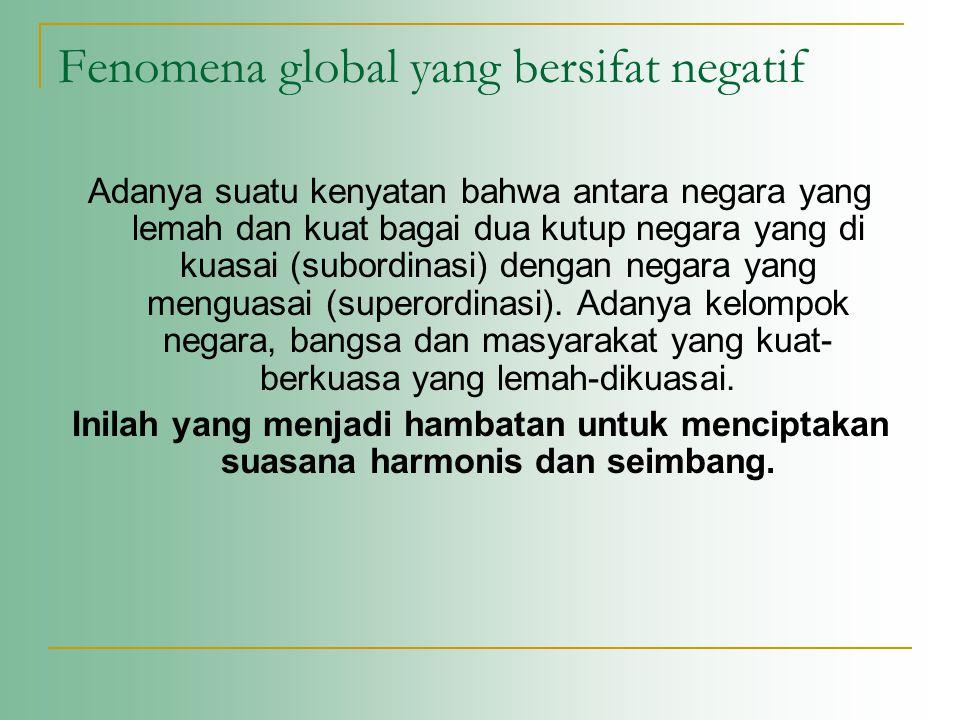 Fenomena global yang bersifat negatif Adanya suatu kenyatan bahwa antara negara yang lemah dan kuat bagai dua kutup negara yang di kuasai (subordinasi