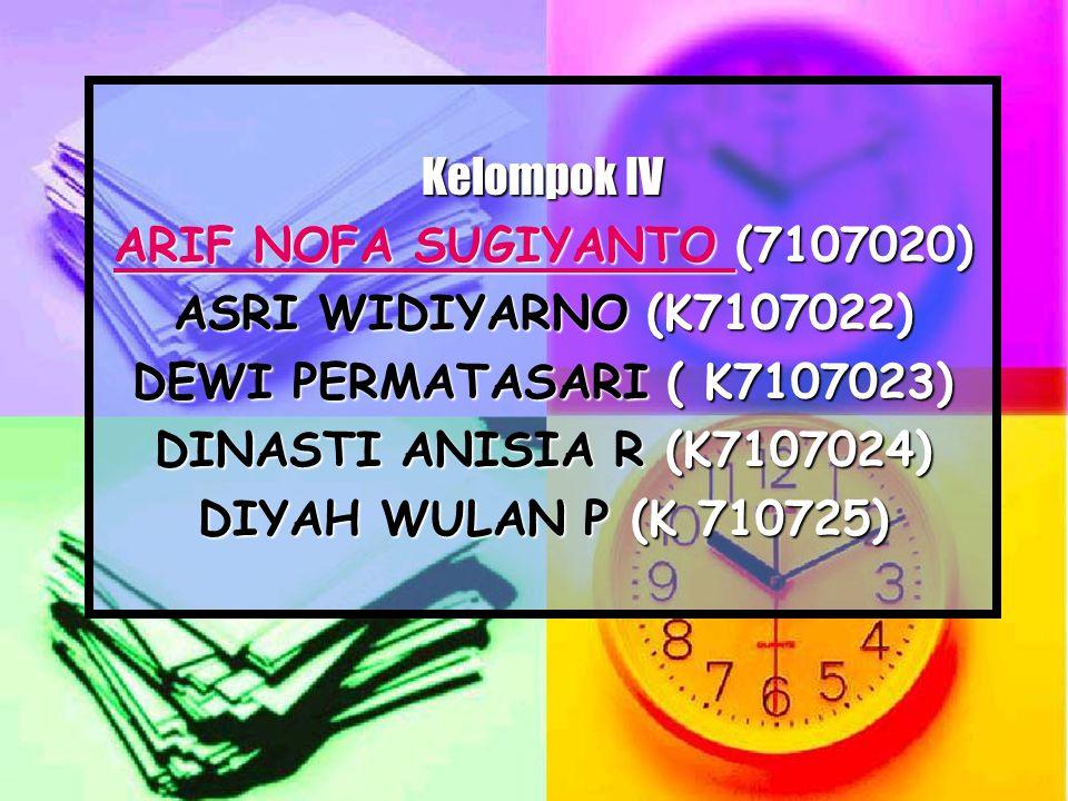 Kelompok IV ARIF NOFA SUGIYANTO ARIF NOFA SUGIYANTO (7107020) ARIF NOFA SUGIYANTO ASRI WIDIYARNO (K7107022) DEWI PERMATASARI( K7107023) DINASTI ANISIA