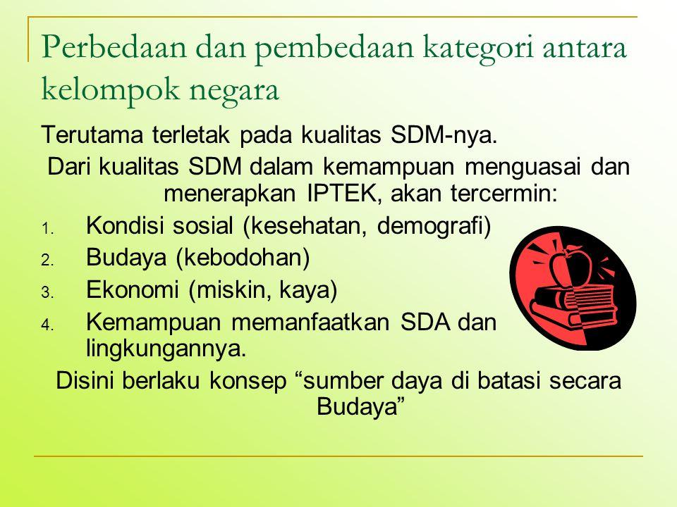 Perbedaan dan pembedaan kategori antara kelompok negara Terutama terletak pada kualitas SDM-nya. Dari kualitas SDM dalam kemampuan menguasai dan mener