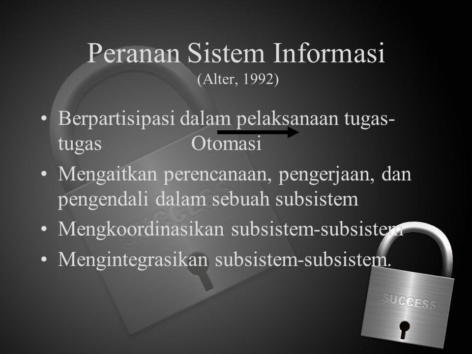 Peranan Sistem Informasi (Alter, 1992) Berpartisipasi dalam pelaksanaan tugas- tugas Otomasi Mengaitkan perencanaan, pengerjaan, dan pengendali dalam