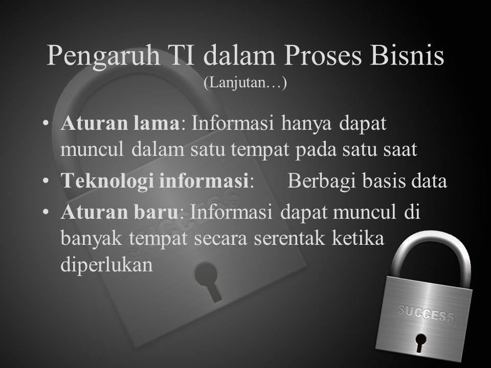 Pengaruh TI dalam Proses Bisnis (Lanjutan…) Aturan lama: Informasi hanya dapat muncul dalam satu tempat pada satu saat Teknologi informasi:Berbagi bas