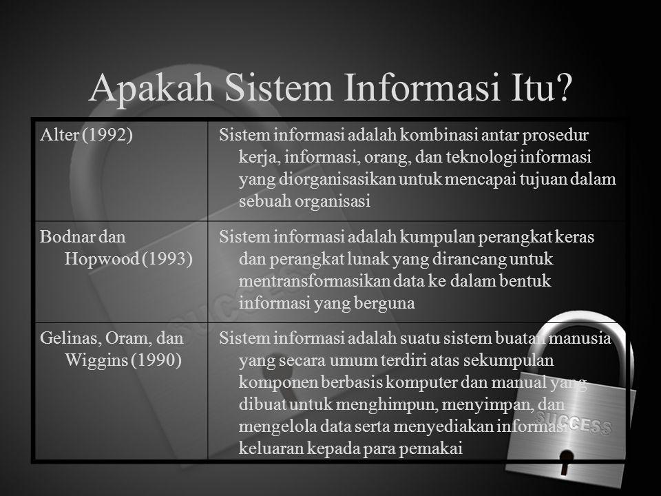 Apakah Sistem Informasi Itu? Alter (1992) Sistem informasi adalah kombinasi antar prosedur kerja, informasi, orang, dan teknologi informasi yang diorg