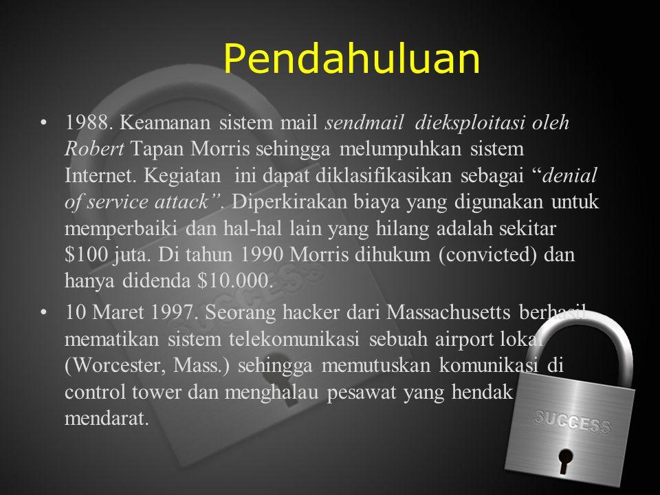 Pendahuluan 1988. Keamanan sistem mail sendmail dieksploitasi oleh Robert Tapan Morris sehingga melumpuhkan sistem Internet. Kegiatan ini dapat diklas