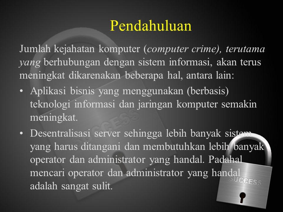 Pendahuluan Jumlah kejahatan komputer (computer crime), terutama yang berhubungan dengan sistem informasi, akan terus meningkat dikarenakan beberapa h