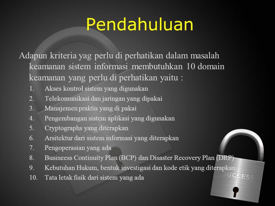 Pendahuluan Adapun kriteria yag perlu di perhatikan dalam masalah keamanan sistem informasi membutuhkan 10 domain keamanan yang perlu di perhatikan ya