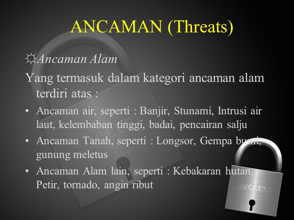 ANCAMAN (Threats) ☼ Ancaman Alam Yang termasuk dalam kategori ancaman alam terdiri atas : Ancaman air, seperti : Banjir, Stunami, Intrusi air laut, ke
