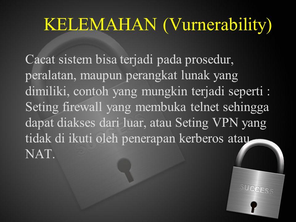 KELEMAHAN (Vurnerability) Cacat sistem bisa terjadi pada prosedur, peralatan, maupun perangkat lunak yang dimiliki, contoh yang mungkin terjadi sepert