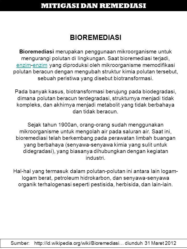 MITIGASI DAN REMEDIASI BIOREMEDIASI Bioremediasi merupakan penggunaan mikroorganisme untuk mengurangi polutan di lingkungan.